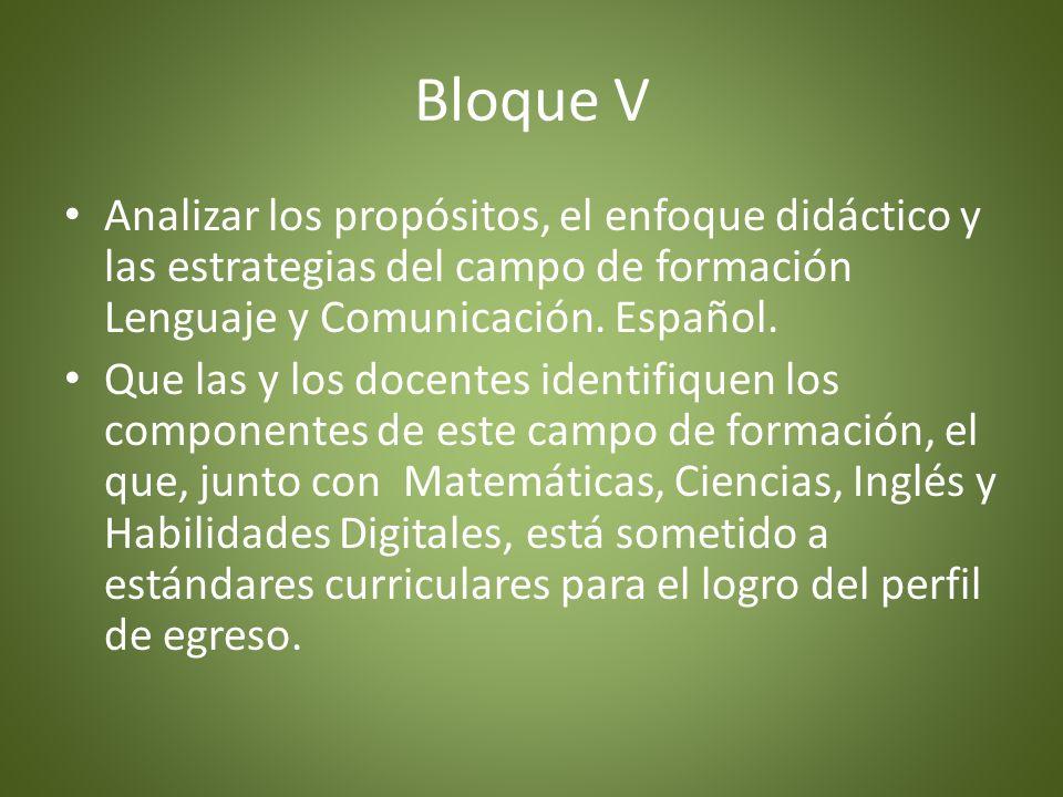 Bloque VAnalizar los propósitos, el enfoque didáctico y las estrategias del campo de formación Lenguaje y Comunicación. Español.