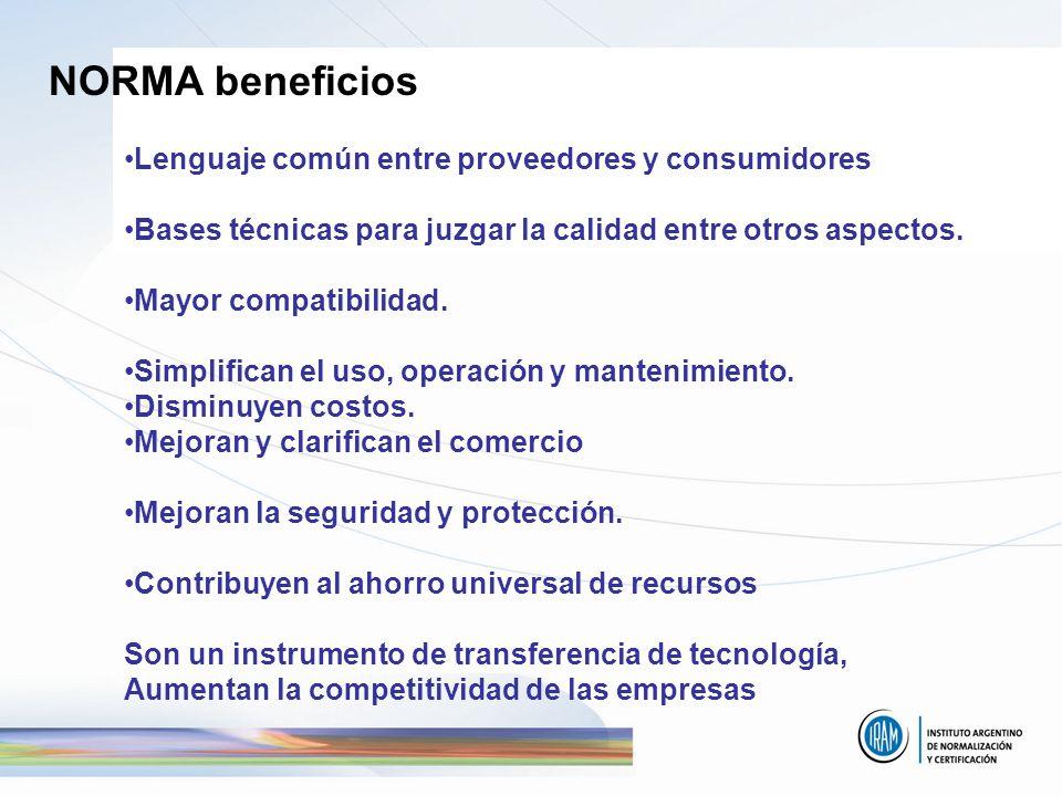 NORMA beneficios Lenguaje común entre proveedores y consumidores