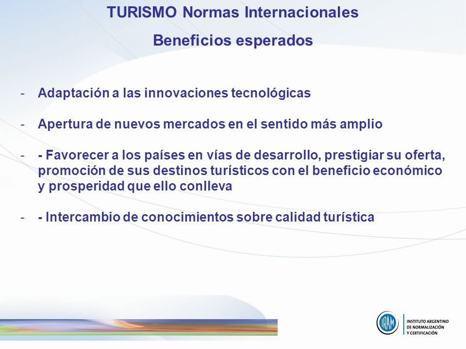 TURISMO Normas Internacionales