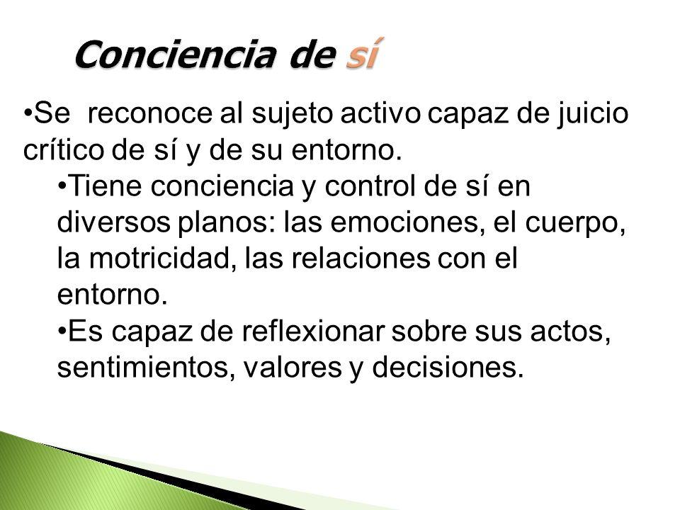 Conciencia de sí Se reconoce al sujeto activo capaz de juicio crítico de sí y de su entorno.