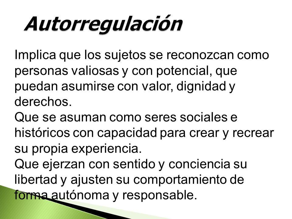 Autorregulación Implica que los sujetos se reconozcan como personas valiosas y con potencial, que puedan asumirse con valor, dignidad y derechos.