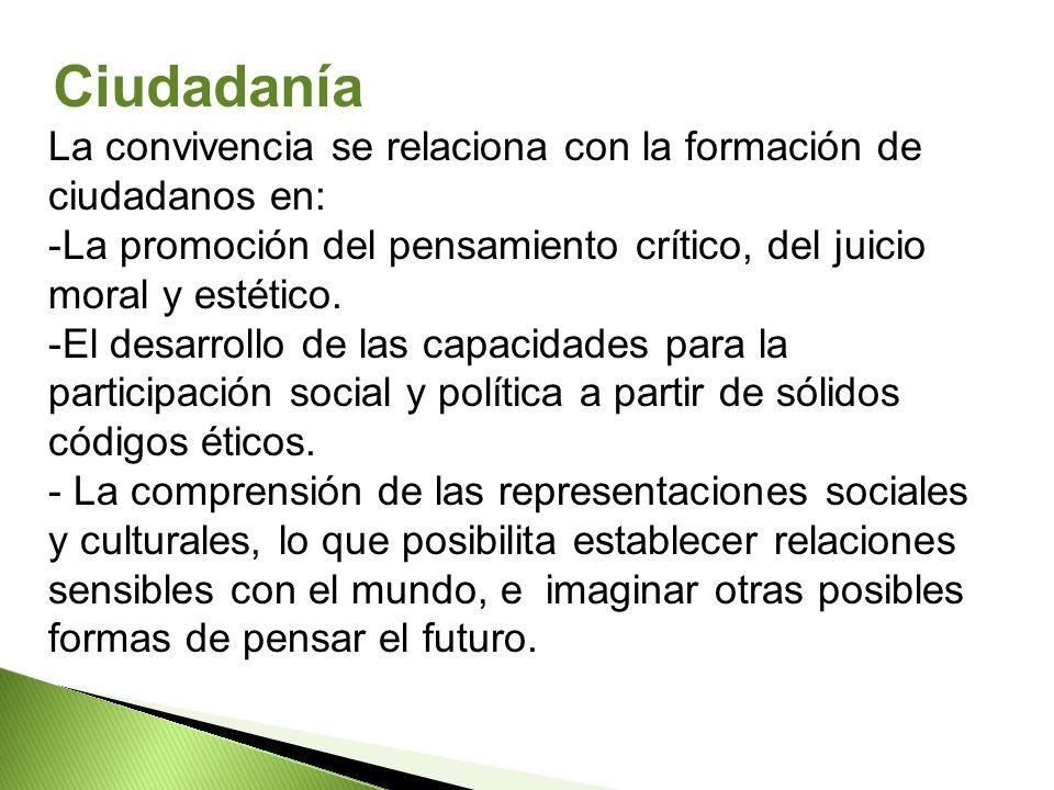 Ciudadanía La convivencia se relaciona con la formación de ciudadanos en: La promoción del pensamiento crítico, del juicio moral y estético.