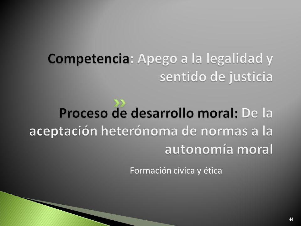 Competencia: Apego a la legalidad y sentido de justicia Proceso de desarrollo moral: De la aceptación heterónoma de normas a la autonomía moral
