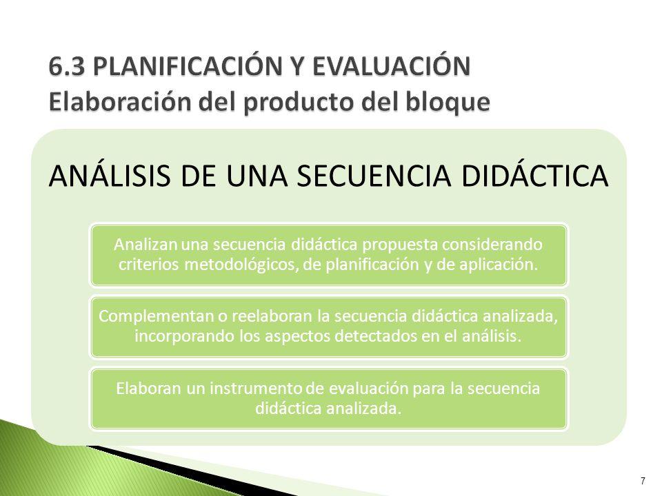 6.3 PLANIFICACIÓN Y EVALUACIÓN Elaboración del producto del bloque