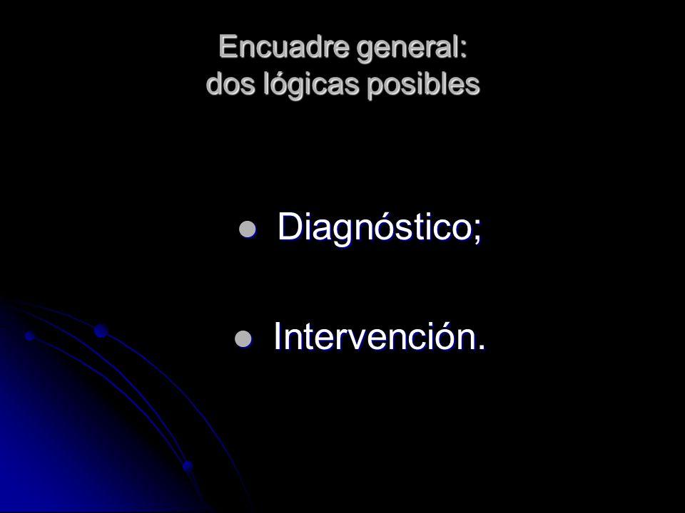Encuadre general: dos lógicas posibles