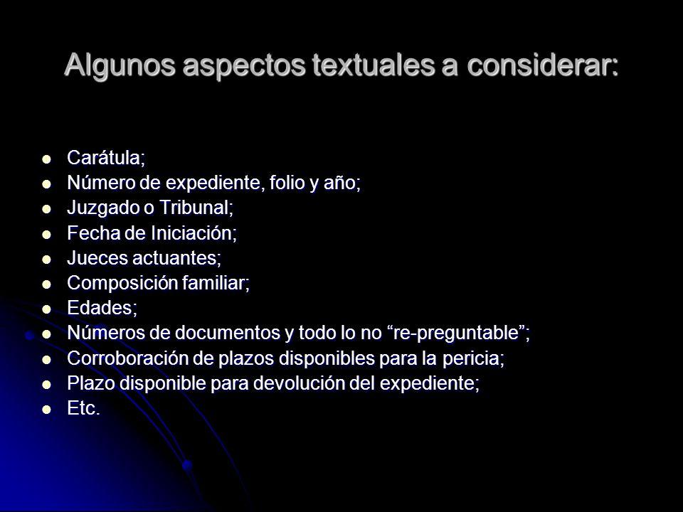 Algunos aspectos textuales a considerar:
