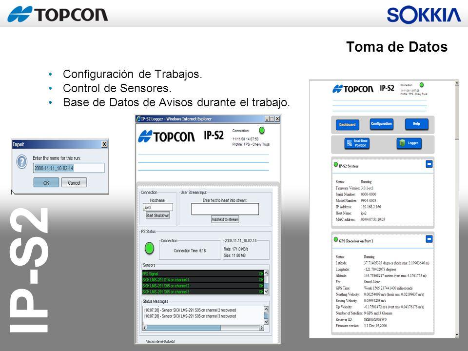 Toma de Datos Configuración de Trabajos. Control de Sensores.