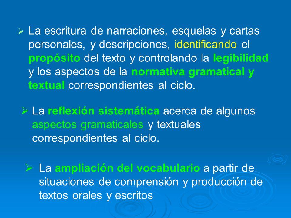 La escritura de narraciones, esquelas y cartas personales, y descripciones, identificando el propósito del texto y controlando la legibilidad y los aspectos de la normativa gramatical y textual correspondientes al ciclo.