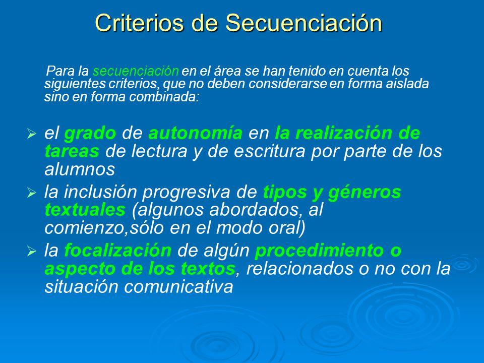Criterios de Secuenciación