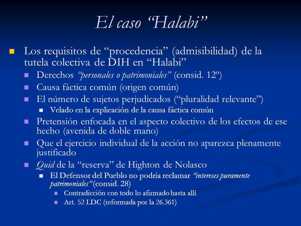 El caso Halabi Los requisitos de procedencia (admisibilidad) de la tutela colectiva de DIH en Halabi