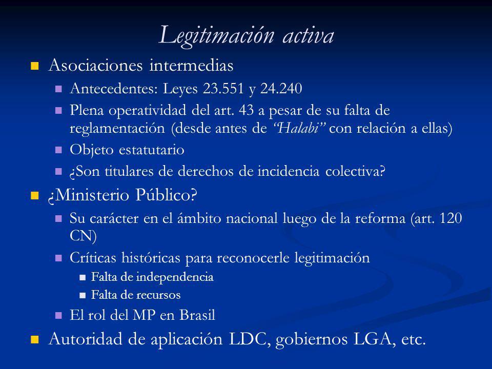 Legitimación activa Asociaciones intermedias ¿Ministerio Público