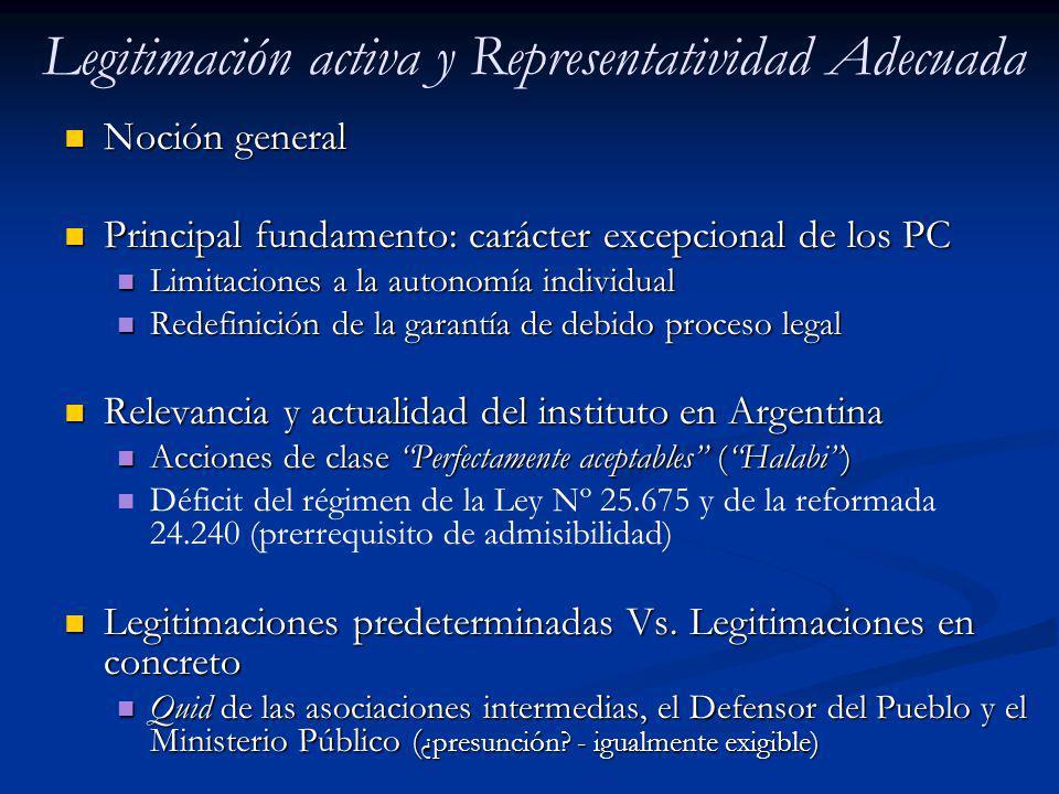 Legitimación activa y Representatividad Adecuada