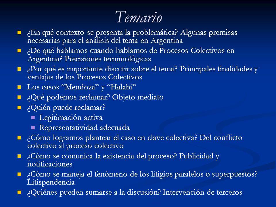 Temario ¿En qué contexto se presenta la problemática Algunas premisas necesarias para el análisis del tema en Argentina.