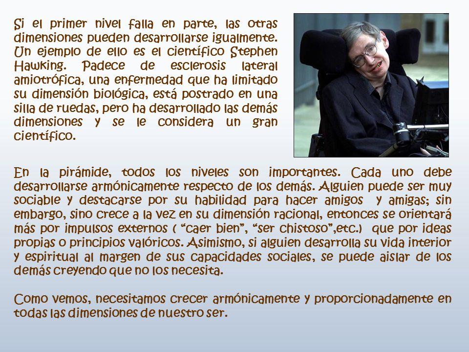 Si el primer nivel falla en parte, las otras dimensiones pueden desarrollarse igualmente. Un ejemplo de ello es el científico Stephen Hawking. Padece de esclerosis lateral amiotrófica, una enfermedad que ha limitado su dimensión biológica, está postrado en una silla de ruedas, pero ha desarrollado las demás dimensiones y se le considera un gran científico.