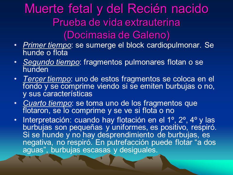 Muerte fetal y del Recién nacido Prueba de vida extrauterina (Docimasia de Galeno)