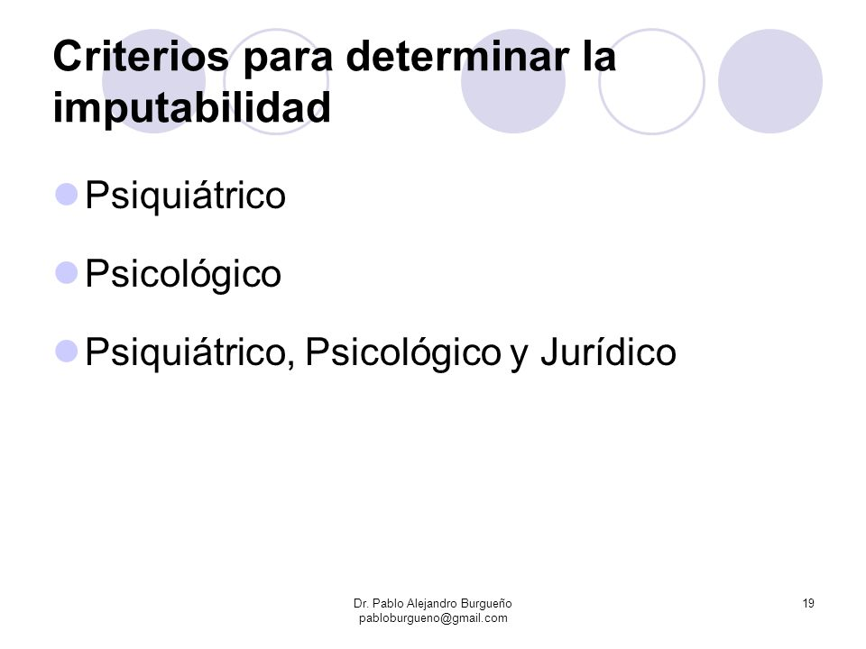 Criterios para determinar la imputabilidad