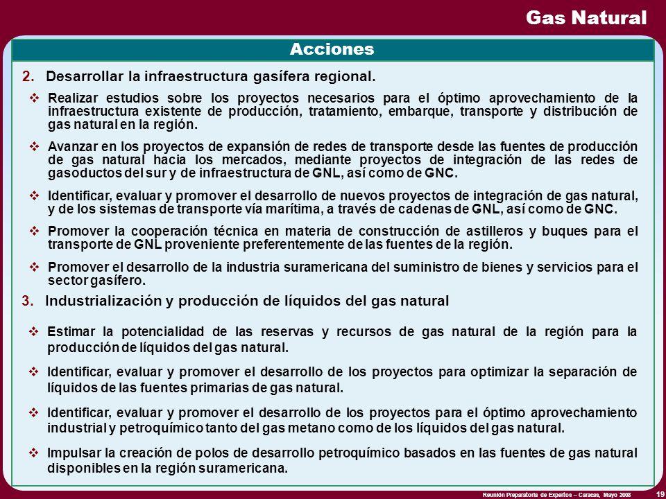 Gas Natural Acciones Desarrollar la infraestructura gasífera regional.