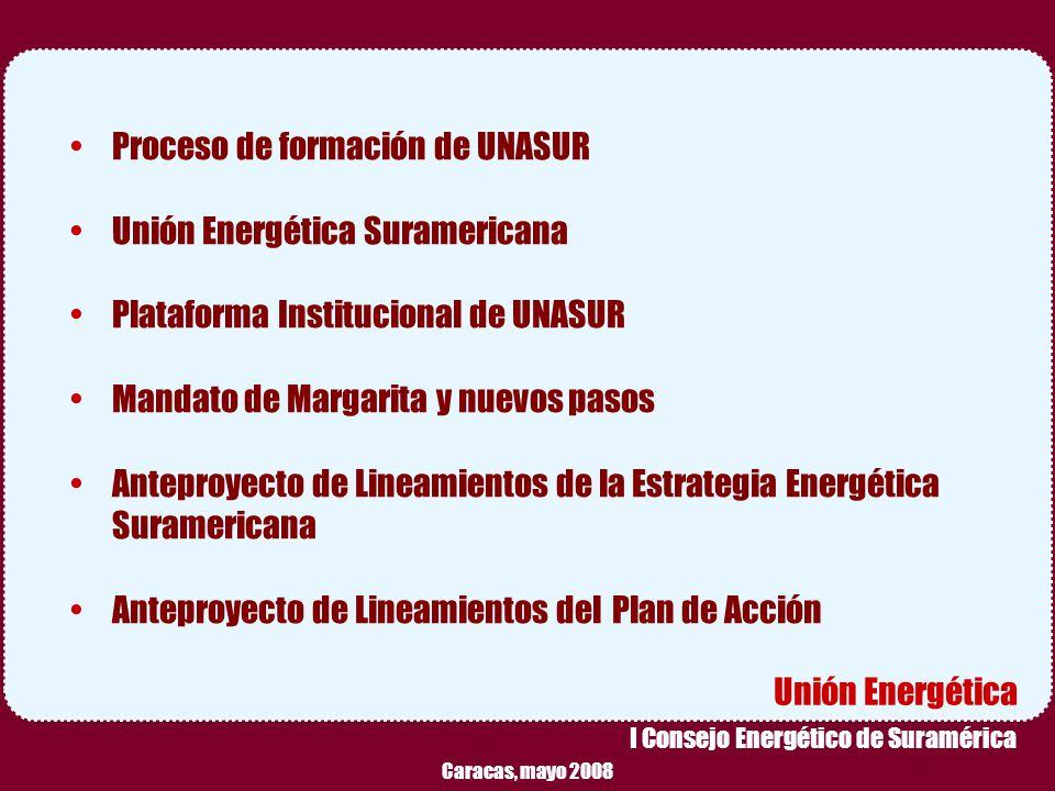 Proceso de formación de UNASUR Unión Energética Suramericana