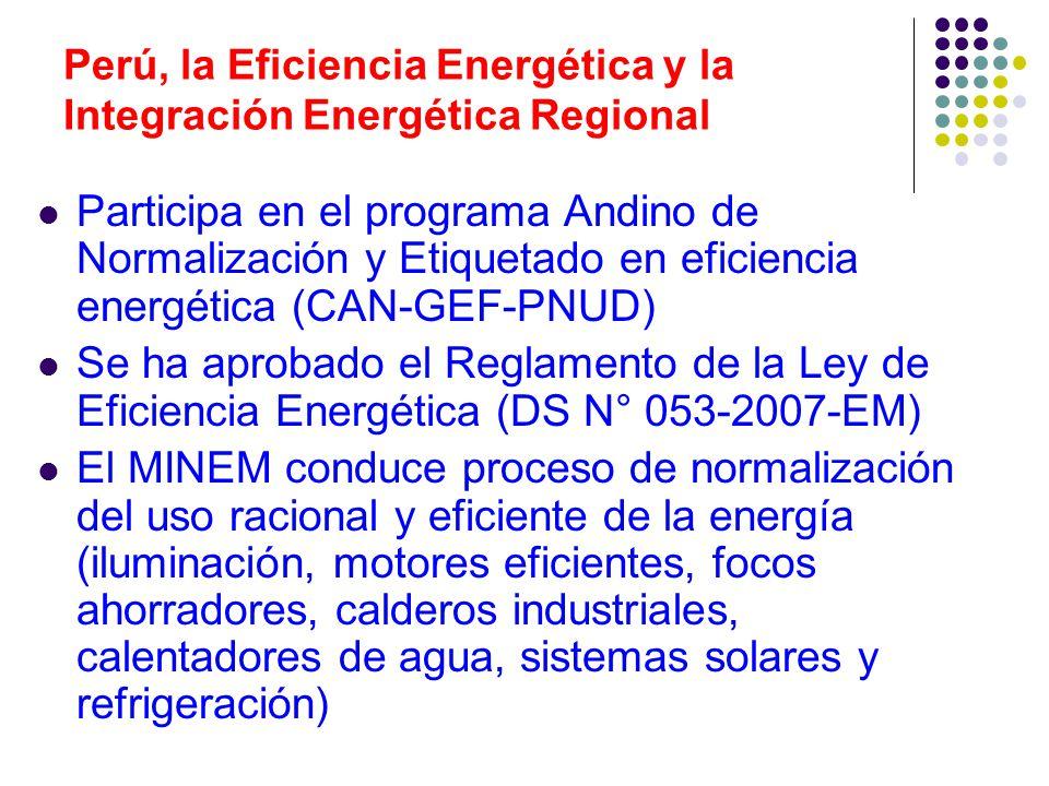 Perú, la Eficiencia Energética y la Integración Energética Regional