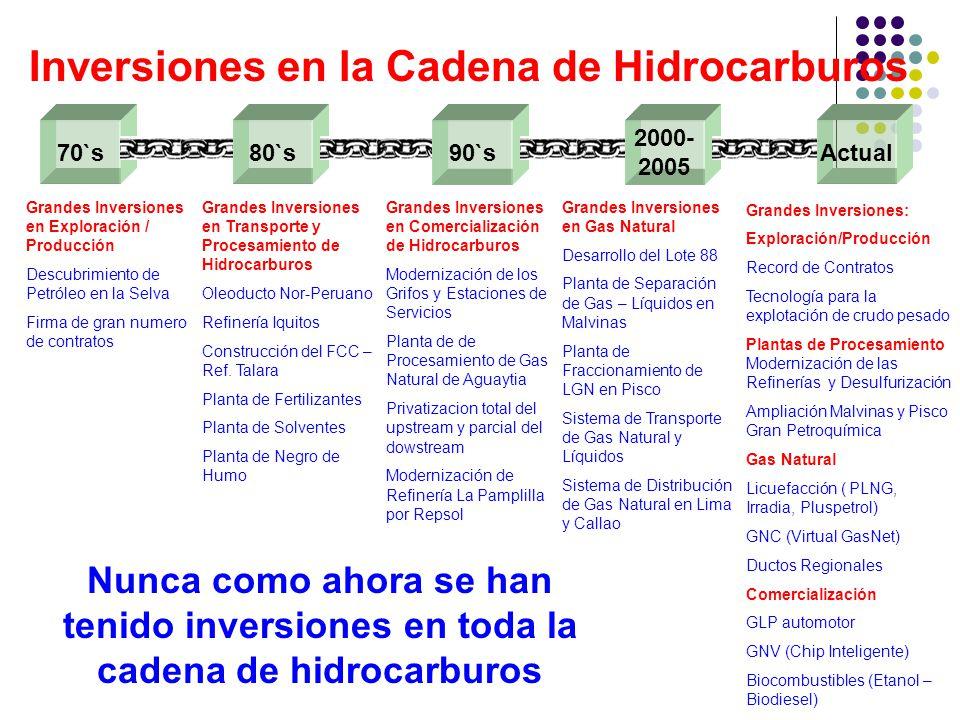 Inversiones en la Cadena de Hidrocarburos