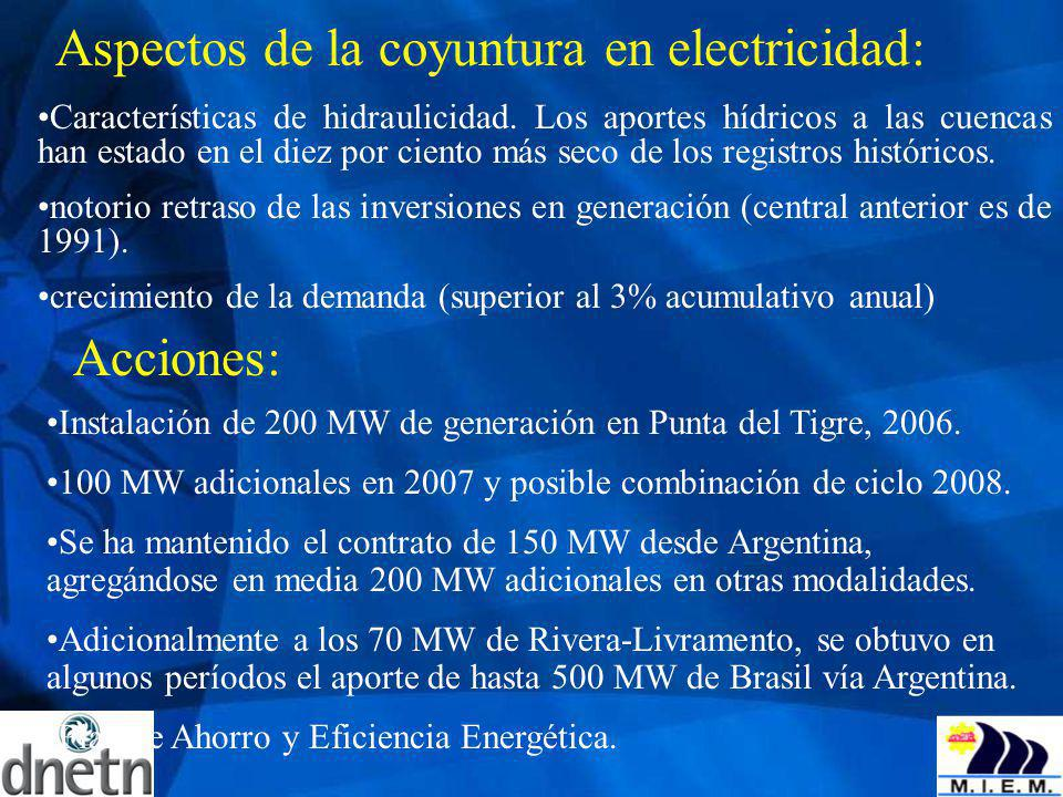 Aspectos de la coyuntura en electricidad: