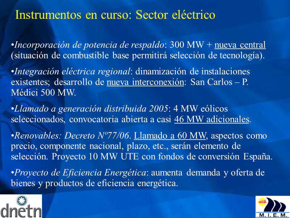 Instrumentos en curso: Sector eléctrico