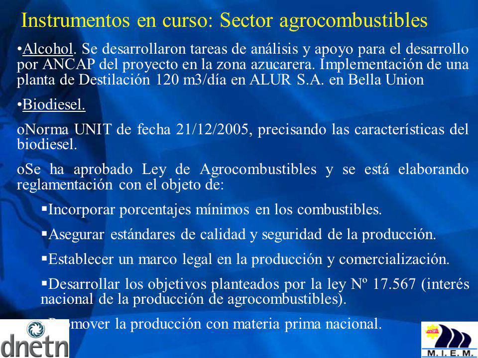 Instrumentos en curso: Sector agrocombustibles