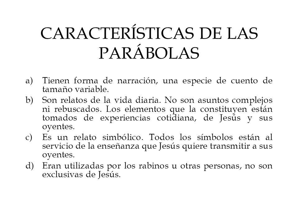 CARACTERÍSTICAS DE LAS PARÁBOLAS
