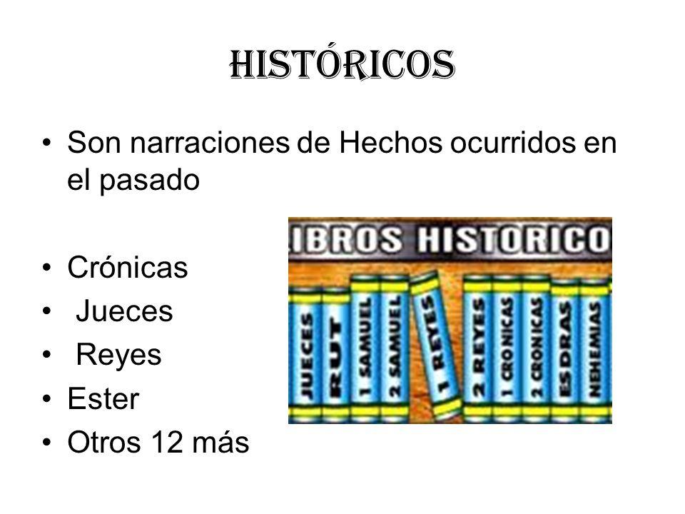 Históricos Son narraciones de Hechos ocurridos en el pasado Crónicas