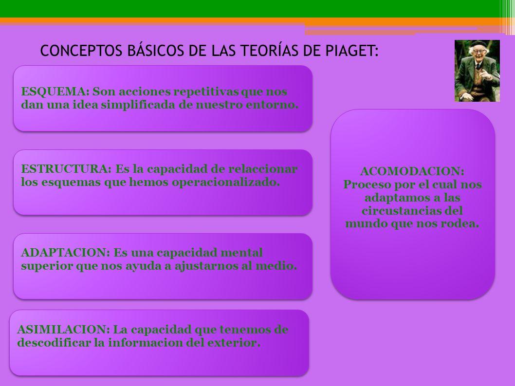 CONCEPTOS BÁSICOS DE LAS TEORÍAS DE PIAGET: