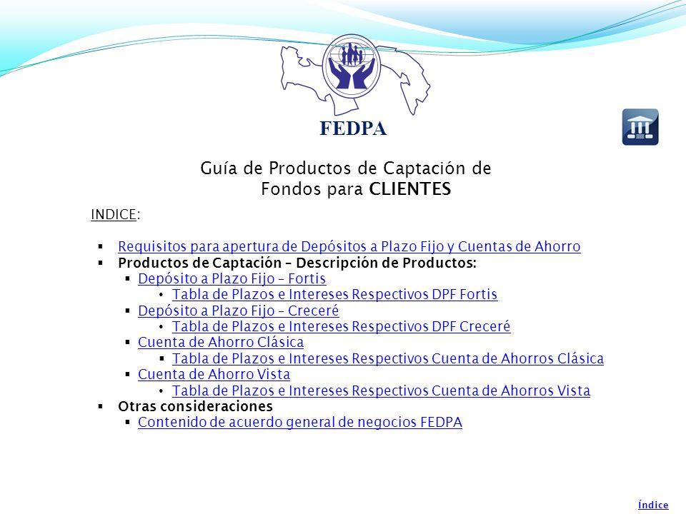 Guía de Productos de Captación de Fondos para CLIENTES