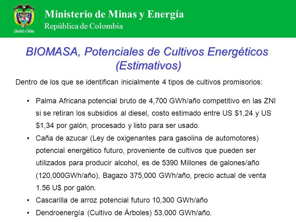 BIOMASA, Potenciales de Cultivos Energéticos (Estimativos)