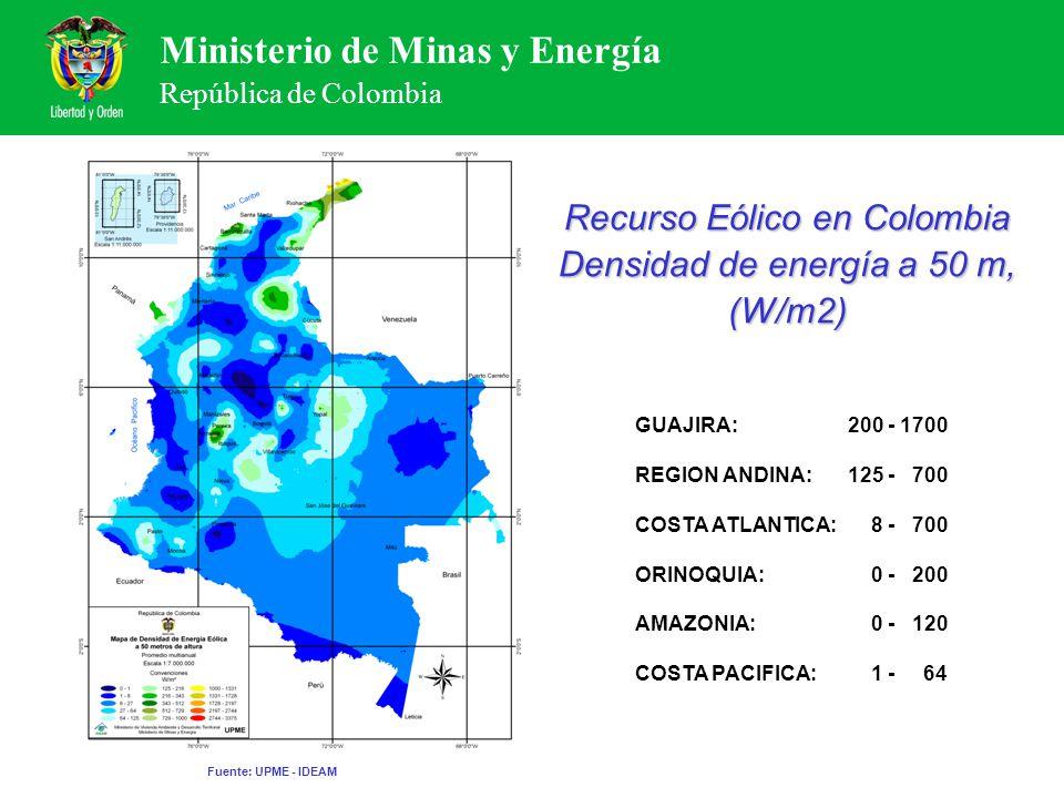 Recurso Eólico en Colombia Densidad de energía a 50 m, (W/m2)