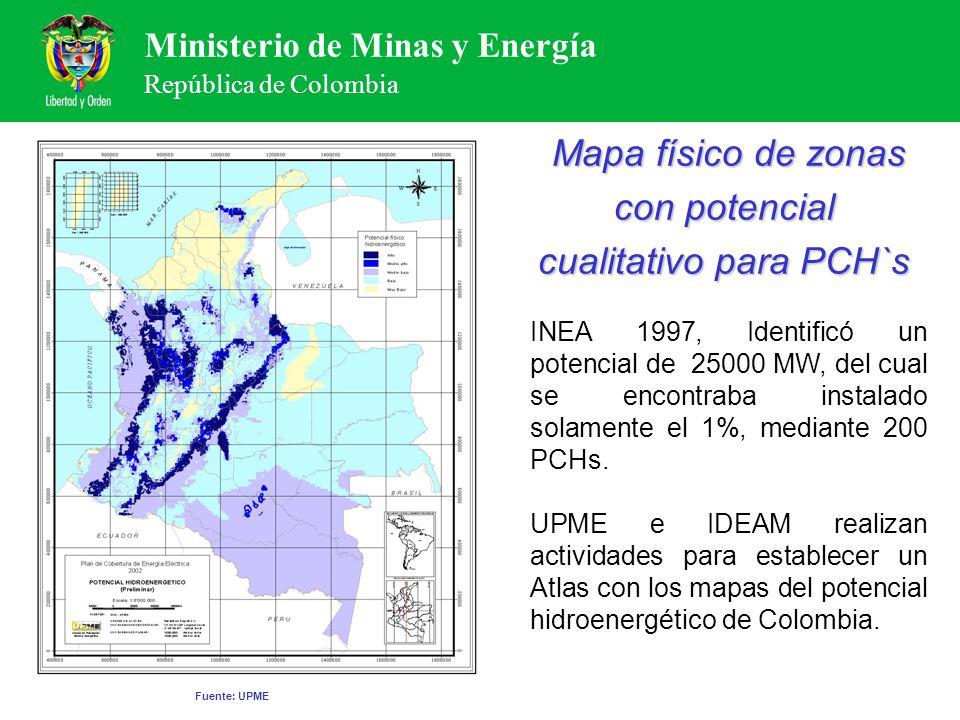 Mapa físico de zonas con potencial cualitativo para PCH`s