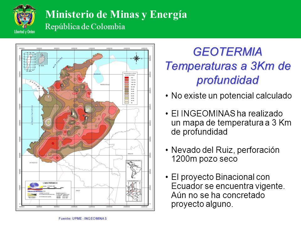 GEOTERMIA Temperaturas a 3Km de profundidad