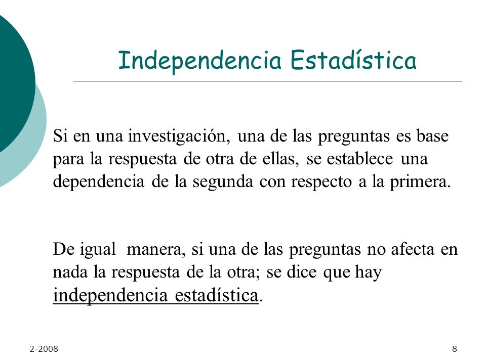 Independencia Estadística