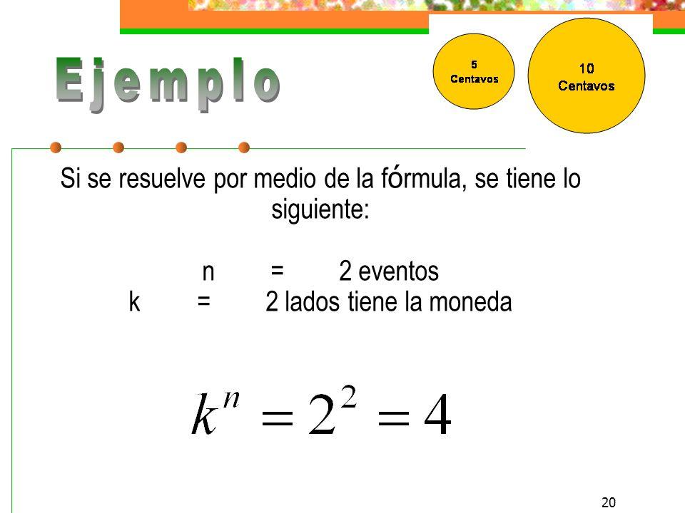 Ejemplo Si se resuelve por medio de la fórmula, se tiene lo siguiente: n = 2 eventos k = 2 lados tiene la moneda.