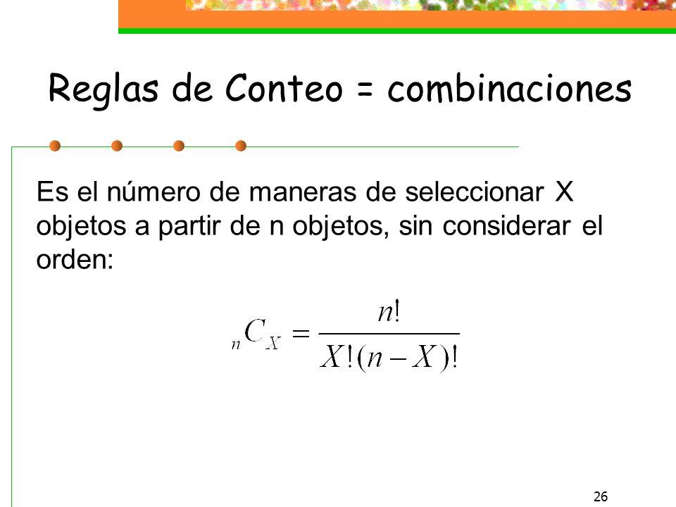 Reglas de Conteo = combinaciones