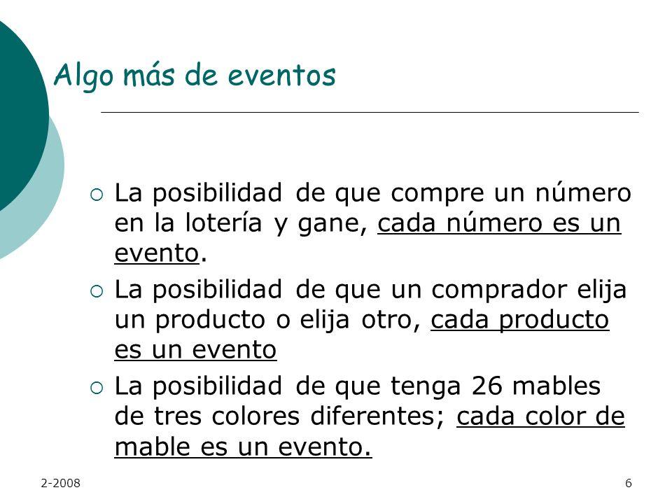 Algo más de eventos La posibilidad de que compre un número en la lotería y gane, cada número es un evento.