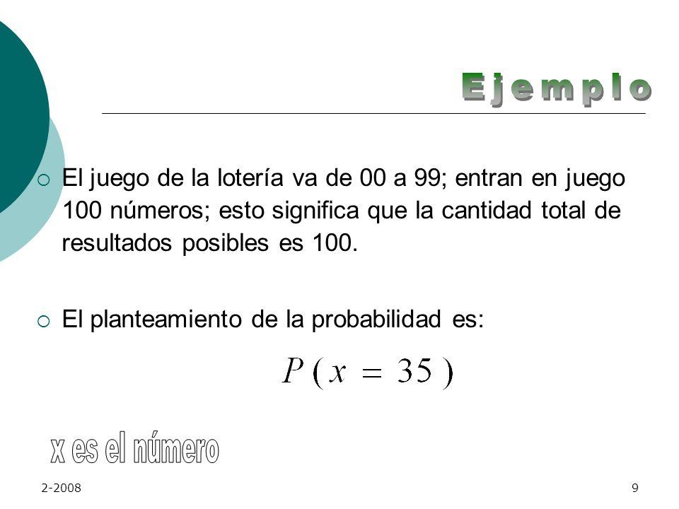 Ejemplo El juego de la lotería va de 00 a 99; entran en juego 100 números; esto significa que la cantidad total de resultados posibles es 100.
