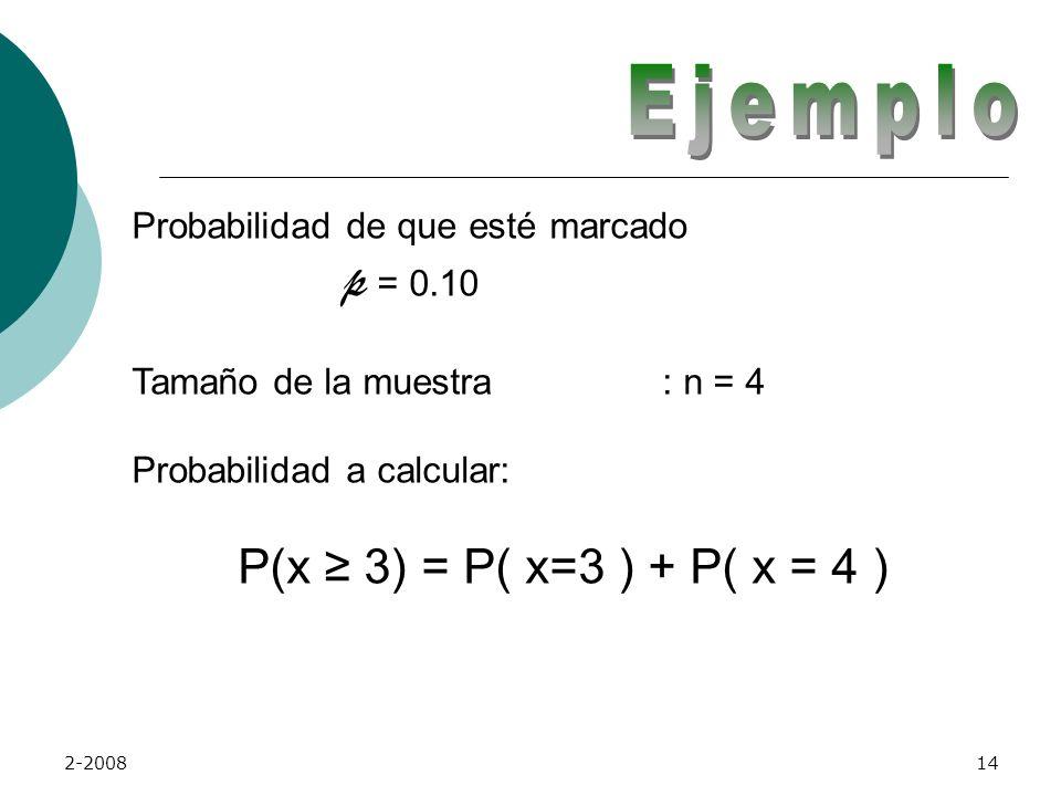 Ejemplo Probabilidad de que esté marcado p = 0.10
