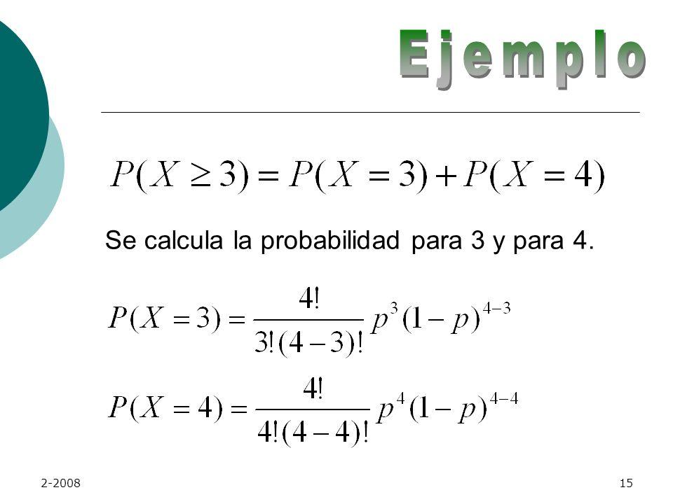 Ejemplo Se calcula la probabilidad para 3 y para 4. 2-2008