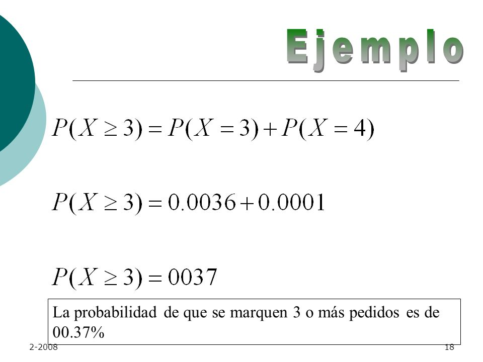 Ejemplo La probabilidad de que se marquen 3 o más pedidos es de 00.37%