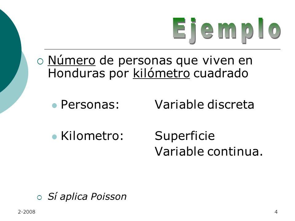 Ejemplo Número de personas que viven en Honduras por kilómetro cuadrado. Personas: Variable discreta.