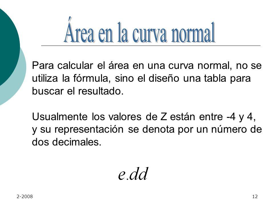 Área en la curva normal Para calcular el área en una curva normal, no se. utiliza la fórmula, sino el diseño una tabla para buscar el resultado.