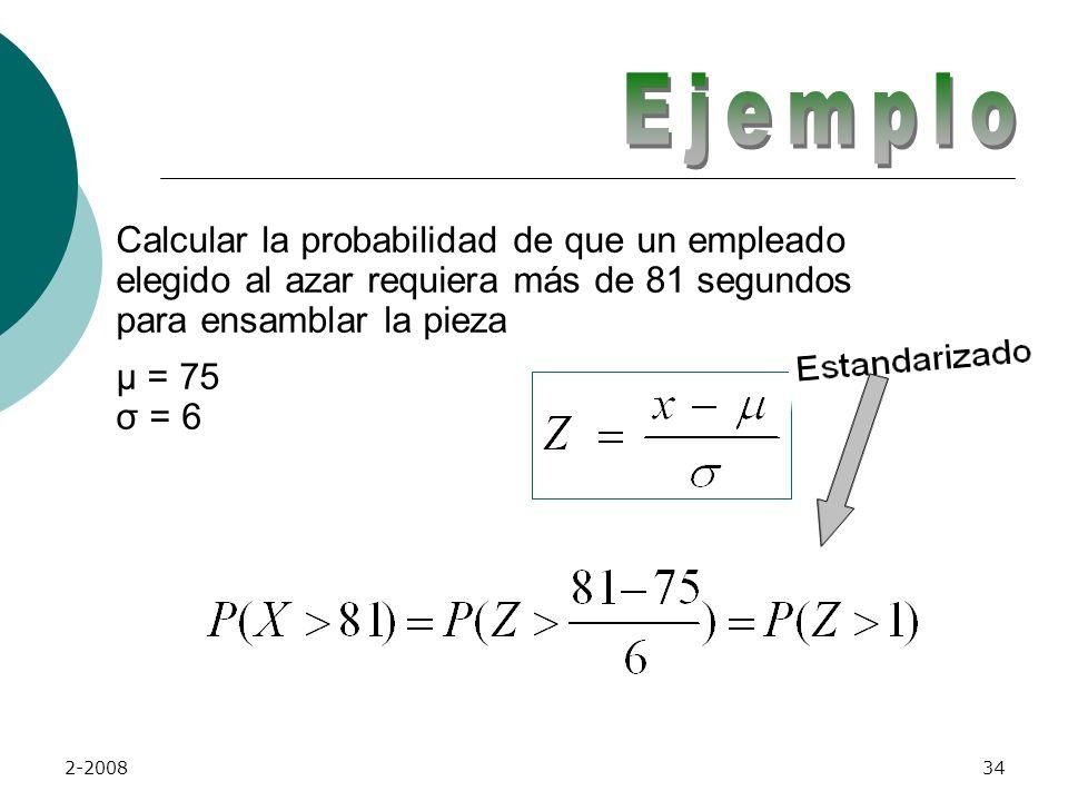 Ejemplo Calcular la probabilidad de que un empleado elegido al azar requiera más de 81 segundos para ensamblar la pieza µ = 75 σ = 6.