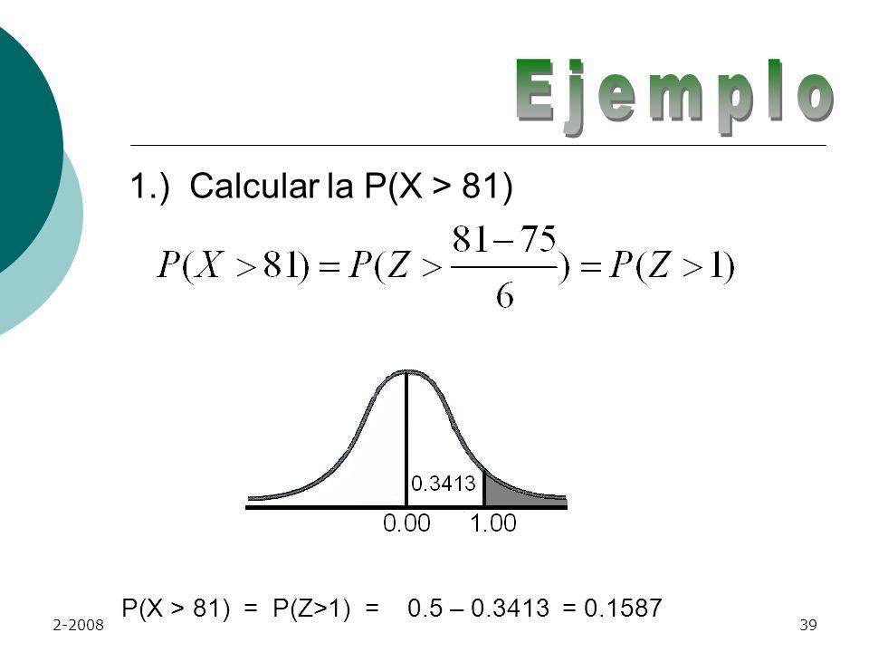 P(X > 81) = P(Z>1) = 0.5 – 0.3413 = 0.1587