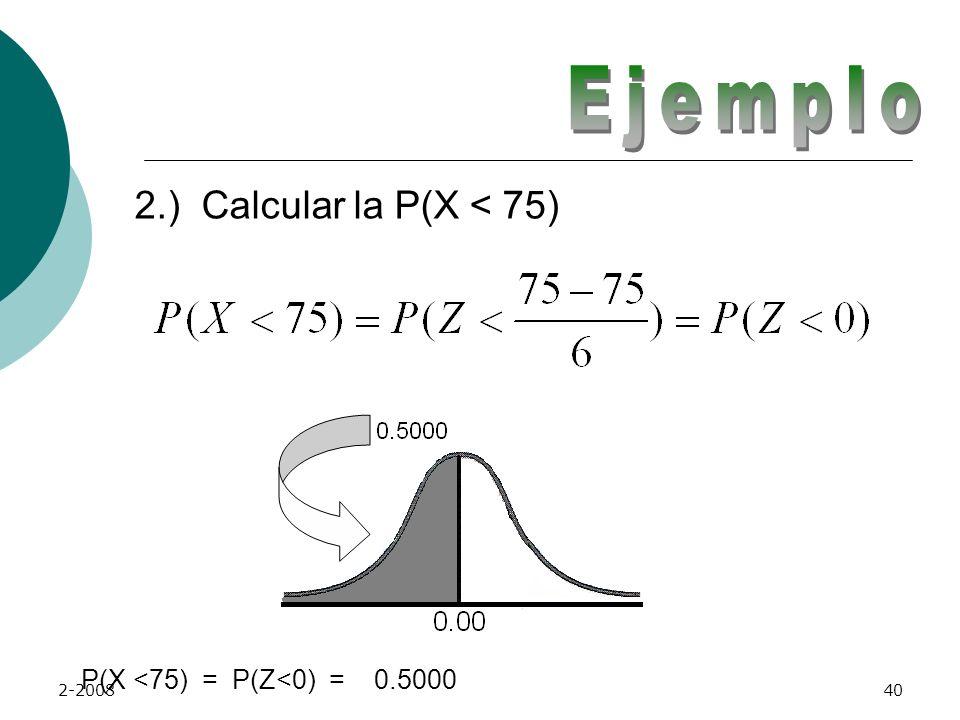 Ejemplo 2.) Calcular la P(X < 75) P(X <75) = P(Z<0) = 0.5000