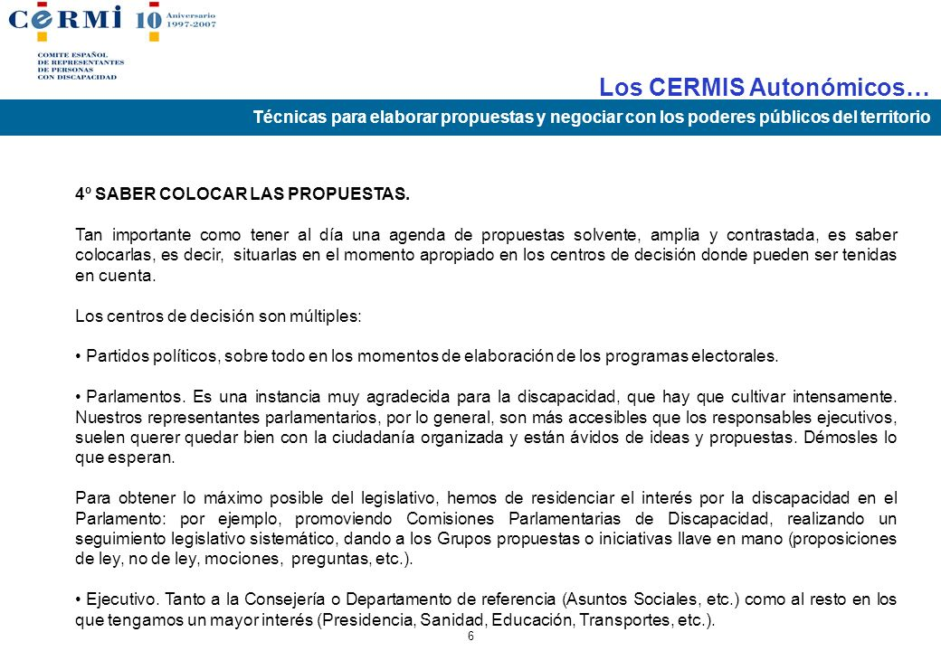 4º SABER COLOCAR LAS PROPUESTAS.