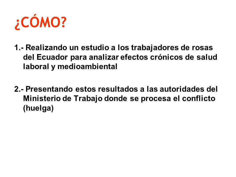 ¿CÓMO 1.- Realizando un estudio a los trabajadores de rosas del Ecuador para analizar efectos crónicos de salud laboral y medioambiental.